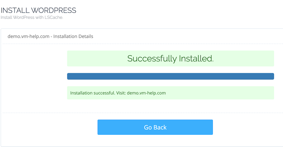 CyberPanel WordPress Successful Installation