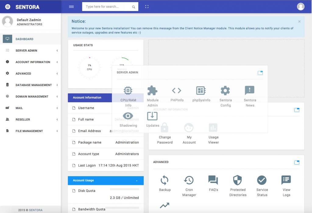 Sentora Interactive Dashboard