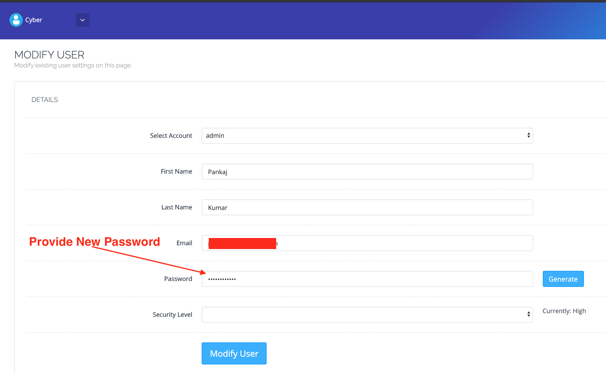 Cyberpanel Dashboard User Profile New Password